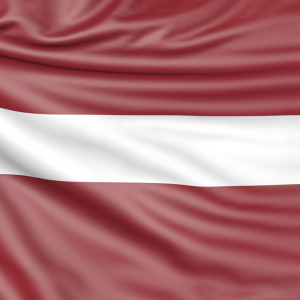 Flag of Latvia, 3d illustration with fabric texture