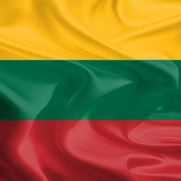 Waving Fabric Flag of Lithuania