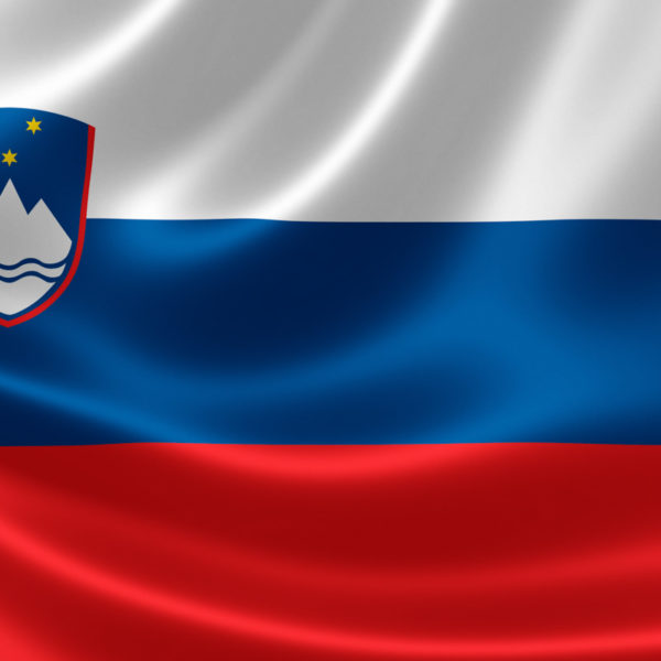 3D rendering of the flag of Slovenia on satin texture.